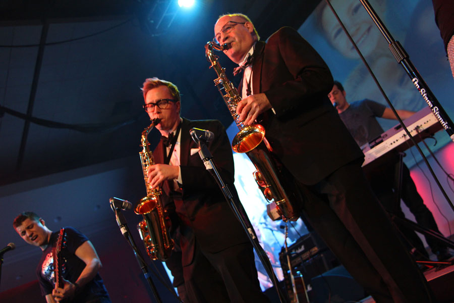 Jeremy Deer, MD, and Francois Luks, MD, of Hasbro Children's Hospital performing with Hasbro, Inc.'s employee band, Toys 2 Men.